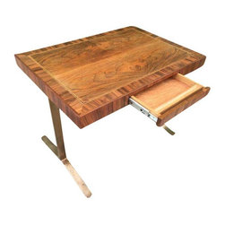 Used Nico Zographos Bronze Desk - An amazing and rare Nico Zographos table or desk. This desk features amazing woodgrain and signature Zographos bronze legs. This desk is constructed of the highest quality with timeless design and modernist details.
