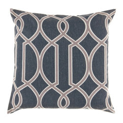 Surya Rugs - 18-Inch Square Ink, Caper Green, and Papyrus Patterned Pillow Cover with Poly In - - 18 x 18 90% Polyester and 10% Linen Pillow Cover w/ Poly Insert.   - For more than 35 years, Surya has been synonymous with high quality, innovation and luxury.   - Our designers have masterfully created some of the most cutting edge and versatile pieces to bring out the best in every room.   - Encompassing their expert understanding of the latest trends in fashion and interior design, each product is a perfect combination of color, pattern and texture to accommodate the widest range of tastes.   - With Surya, the best in design and quality is at your fingertips.   - Pantone: Ink, Caper Green, Papyrus.   - Made in China.   - Care Instructions: Spot Clean.   - Cover Material: 90% Polyester/10% Linen.   - Fill Material: Poly Fiber. Surya Rugs - FF001-1818P