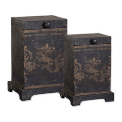 Uttermost - Melani Decorative Boxes, Set of 2 - These Boxes Are Made Of Plantation Grown Mango Wood With The Aged Black And Gold Hand Painting. Sizes: Sm-6x8x5, Lg-8x12x7