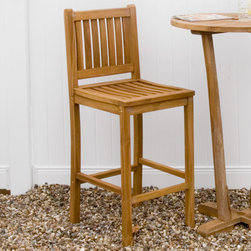 Teak Bar Chair - Great for entertaining at a backyard dinner party, this tall bar chair is perfect for any occasion. Create a coordinated look by pairing two or four chairs around a teak bar table.