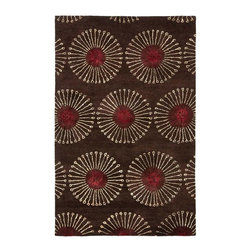 Safavieh - Rectangular Rug in Coffee (8 ft. x 5 ft.) - Size: 8 ft. x 5 ft. Contemporary style. Hand tufted. Accented with viscose for silky softness to outline patterns. Made from premium New Zealand wool. Made in India. Pile height: 0.63 in. The Soho collection is Safavieh's response to market demand for clean, transitional design in rugs that work equally well in traditional and contemporary homes. The collection's unique purity and clarity of the color is achieved by selecting only the purest wool as a canvas for Safavieh's exciting new color palette. Care Instructions: Vacuum regularly. Brushless attachment is recommended. Avoid direct and continuous exposure to sunlight. Do not pull loose ends; clip them with scissors to remove. Remove spills immediately; blot with clean cloth by pressing firmly around the spill to absorb as much as possible. For hard-to-remove stains professional rug cleaning is recommended.