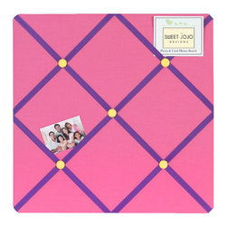 Sweet Jojo Designs - Groovy Fabric Memo Board - The Groovy Fabric Memo Board with button detail is a great way to display photos, notes, and postcards on your child's wall. Just slip your mementos behind the grosgrain ribbon to create an engaging piece of original wall art. This adorable memo board by Sweet Jojo Designs is the perfect accessory for the matching children's bedding set.
