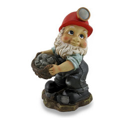 Zeckos - Miner Gnome Carrying Basket of Rocks Whimsical Garden Sculpture - Wearing his over-sized red miner's hat, this hard-working gnome is ready to go to work in your flowerbed, vegetable garden or at your entryway Full of characteristic gnome details; from big boots to bushy beard, this garden elf proudly lays his pickaxe down to carry his basket of rocks away This adorable 10 inch (25 cm) high, 6.5 inch (17 cm) wide, 5.25 inch (13 cm) deep cast resin gnome will lend his charm anywhere you could use a little gnome magic, and makes a wonderful gift any gnome enthusiast is sure to love