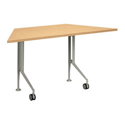 Hon - Motivate Trapezoid Table - Think outside the box with this unique trapezoid-shaped table. One can be used easily as a workstation or side table, or you can put several together in a nearly endless series of configurations. Its base is made of sturdy metal with a maple-colored laminate top.