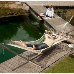 Gale Pacific Double Person Cotton Hammock with Timber Spreader Bar - Enjoy peace of mind in the environmentally friendly Gale Pacific Double Person Cotton Hammock with Timber Spreader Bar. Made from organic cotton, this hammock includes a spreader bar made from durable Forest Stewardship Council (FSC) timber. Extra width and support cables ensure maximum comfort.