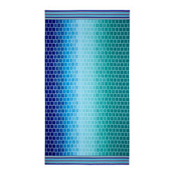 None - Celebration Velour Shades of Blue Tile Beach Towel (Set of 2) - These gorgeous towels feature various blue shades with a design full of precise squares and stripes. The set includes two cotton velour towels.