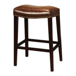 Leather Saddle Bar Side Stool - Santiago Leather Side Chair. Beautiful dark brown leather and a solid wood base and finished with brass studs.