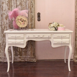 Sweet White 5 Drawer Desk with Lovely Rose Appliques - This lovely shabby white desk features five drawers with two on each side and one in the middle, curvy legs, and a gorgeous white finish. The whole piece is set off by our rose appliques and glass knobs. Perfect for the cottage bedroom or home office!