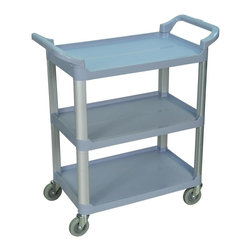Luxor Furniture - Serving Cart - Durable polypropylene shelves and aluminum uprights. 200 lb. capacity (evenly distributed). Dual handles for maximum control. Easy to maneuver with 4 in. PVC casters. Lifetime warranty. Cart dimensions are 33 ½ in. W x 16 ¾ in. D X 36 ¾ in. H. . Shelf Dimensions are 26 in. W x 16 ¼ in. D3-Shelf serving cart is the perfect blend of storage capacity and maneuverability. Shelves are spaced 12 in. apart for easy loading and unloading. Constructed of durable polypropylene plastic to resist scratches, chips and dents. Durable and light weight aluminum uprights provide excellent stacking strength. Easy to assemble.