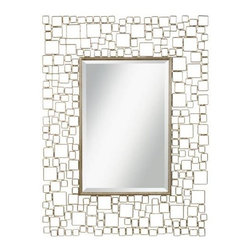 Kichler - Kichler 78211 Kubica Modern Wall Mounted Mirror in Antique Silver 78211 - This distinctive mirror accent balances positive and negative space beautifully. The bold geometric pattern of this design as well as the Distressed Silver Metal frame will highlight any space in your home.Bulbs Included: No Collection: Kubica Country of Origin: China Energy Efficient: No Extends: 1-1 4 Finish: Antique Silver Height: 48 Mirror Shape: Rectangular Style: Transitional Weight: 29.35 Width: 36