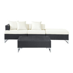 Modway Furniture - Modway Calabasas 4 Piece Patio Sectional Set in Espresso White - 4 Piece Patio Sectional Set in Espresso White belongs to Calabasas Collection by Modway The contemporary Monterey set recognizes that not every gathering has the same seating needs. Monterey's readily interchangeable design flexibly adjusts to remake your space with the most stylish of ease. From casual affair, business professional, to cozy dinner and more; this outdoor sectional rattan set stands ready to transform your seating arena. Cusions and throw pillows are made for any weather conditions, and the tempered glass table top is built to last for years of enjoyment. Set Includes: One - Coffee Table One - Corner Sofa One - Middle sofa One - Ottoman Coffee Table (1), Corner Sofa (1), Middle Sofa (1), Ottoman (1)