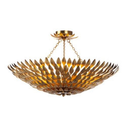 Z Gallerie - Laurel Chandelier - Our Laurel Chandelier shines with vintage refinement, as it fuses modern elegance into the domestic realm. Hand applied wrought iron leaves gracefully form the circular dome shape of this hanging lamp. A vibrant finish of antique gold details each applied leaf, casting a stunning glow and making the Laurel Chandelier a decoratively distinct piece to grace your space. At an extraordinary 31 inches wide, and designed to fit eight 60 watt bulbs, our Laurel Chandelier stunningly illuminates its surrounding decor.