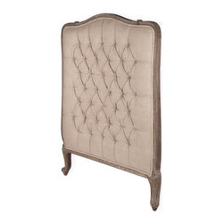 Kathy Kuo Home - Lillian Gray Oak French Country Twin Headboard - Add a little ooh-la-la to your boudoir with this French Country–style headboard. The linen fabric is button-tufted and set in a frame of dark limed oak with a distressed gray finish that has a vintage vibe, yet exudes an updated edge at the same time.