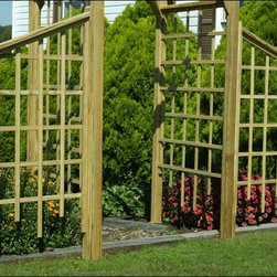 Fifthroom - Treated Pine Classic Arbor Wing - Adding a classic treated yellow pine wing (or two!) will give your vines and flowers plenty of space to expand and grow further.  It will also give your structure a more dramatic look.