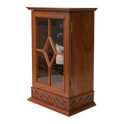 StrathamWood Studios - Scotch or Wine Display Cabinet - Solid mahogany cabinet barred glass door and two adjustable glass shelves.  Features a secret/discrete drawer in the bottom of the unit that disappears when closed.  Perfect to display that treasured bottle of scotch, wine, or liquor.  The glass is period reproduction glass and individual panes held by the solid mahogany bars.