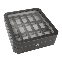 WOLF - Watch Boxes 15 PC Watch Box in Black - You've invested a lot in your collection of favorite timepieces. Now you can safely enjoy them in this lockable, black leather watch box. The see-through lid protects them from dust and dirt while allowing you to enjoy their beauty.