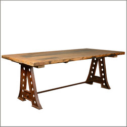 "84"" Industrial Reclaimed Teak Wood Iron Trestle Pedestal Dining Table -"