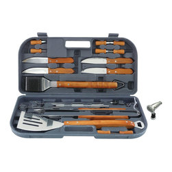 Mr Bar B Q - 20-Piece Tool Set - Mr. Bar-B-Q 20 Piece Gourmet Tool Set With Magnetic LED Grill Light.  Durable Stainless Steel construction. Extra long hardwood handles. Set includes: 4-in-1 spatula, tongs, grill brush, 4 skewers, 4 steak house knives, 8 corn holders and carrying case. Includes bonus magnetic LED grill light.