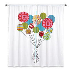 "DiaNoche Designs - Window Curtains Unlined - Marci Cheary Balloons - DiaNoche Designs works with artists from around the world to print their stunning works to many unique home decor items.  Purchasing window curtains just got easier and better! Create a designer look to any of your living spaces with our decorative and unique ""Unlined Window Curtains."" Perfect for the living room, dining room or bedroom, these artistic curtains are an easy and inexpensive way to add color and style when decorating your home.  The art is printed to a polyester fabric that softly filters outside light and creates a privacy barrier.  Watch the art brighten in the sunlight!  Each package includes two easy-to-hang, 3 inch diameter pole-pocket curtain panels.  The width listed is the total measurement of the two panels.  Curtain rod sold separately. Easy care, machine wash cold, tumble dry low, iron low if needed.  Printed in the USA."