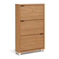 Baxton Studio - Simms Maple Modern Shoe Cabinet - Treat your shoes with the respect they deserve. This sleek and modern shoe cabinet features three drawers to conveniently keep shoes out of site in the entryway, closet, or hall. The low profile design ensures that only the minimal amount of space is taken, while the spacious drawers ensure your shoes a little breathing room.