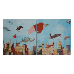 Turtles Love The Sky, Original, Mixed Media - A lyrical mixed media diptych painting (two canvases) in which turtles fly over an imagined city sky line.