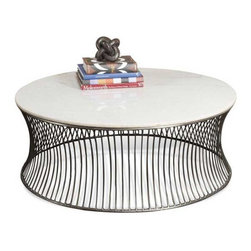 Interlude Home - Interlude Home Pinera Cocktail Table - This Interlude Home Cocktail Table is crafted from Iron and Marble and finished in Antique Nickel and White.  Overall size is:  42 in. W x  42 in. D x 16 in. H.
