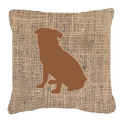 Caroline's Treasures - Pug Burlap and Brown Fabric Decorative Pillow Bb1084 - Indoor or Outdoor Pillow from heavyweight Canvas. Has the feel of Sunbrella Fabric. 18 inch x 18 inch 100% Polyester Fabric pillow Sham with pillow form. This pillow is made from our new canvas type fabric can be used Indoor or outdoor. Fade resistant, stain resistant and Machine washable..