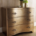 """""""Daggers"""" Chest - Been wanting to add a painted piece to your home?  The """"Daggers"""" chest is subtly and beautifully hand-painted in antiqued gold and silver tones.  It soft color would work well in any decor."""