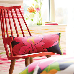 Beautiful Bedding - This cushion features a fun and flamboyant , Op Art inspired stylised floral motif in fabulously bold, vibrant shades. The cushion has a plain black reverse and chartreuse piping to the edges.