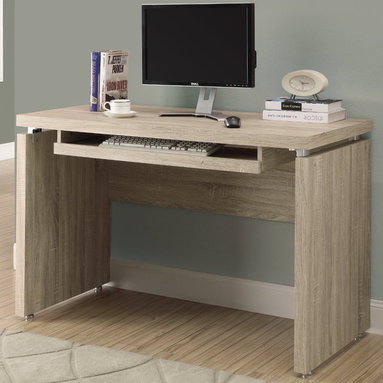 """Monarch - Natural Reclaimed-Look 48""""L Computer Desk - Sleek and contemporary, this warm natural reclaimed look desk is the perfect combination of function, durability and design in a modern form. With clean lines and thick panels, this desk will add style to any home office. Features a large size pull out keyboard tray with room for a mouse. A large desktop surface provides plenty of room for all your hardware and working needs. Coordinate with matching bookcase and mobile stand for ultimate organization.; Material: Hollow Board, Particle Board; Dimensions: 31""""L x 48""""W x 24""""H"""