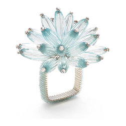 Seafoam/Crystal Constellation Napkin Ring - Firework sprays of long faceted beads adorn your napkins while square rings neatly confine them in the Constellation Napkin Rings. The designer element is made from a gorgeous, chrysanthemum-like cluster of translucent colored beads, while lush seed-beading brings the chic square base rings to match. These napkin rings are a beautiful addition of glistening texture and color to complete place settings planned to perfection. This item is sold individually.
