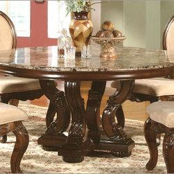 McFerran Home Furnishings - Marble Top Round Dining Table in Cherry - MCFRD0017- - McFerran Home Furnishings - Marble Top Round Dining Table in Cherry - MCFRD0017-6060