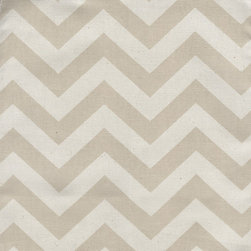 """Close to Custom Linens - 18"""" California King Bedskirt Gathered Zigzag Chevron Khaki Natural - Zigzag is a medium scale chevron in khaki on natural cotton. The stripes are 3/4 inch wide. Gathered with 1 1/2 to 1 fullness, split corners and a 18 inch drop. 100% cotton with a cotton/poly platform."""