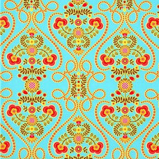 Fabric turquoise Michael Miller fabric with flowers and hearts