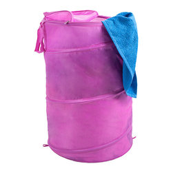 Trademark Global - Pink Pop-Up Laundry Hamper - Both breathable and portable, this collapsible mesh hamper is a great choice for dorm rooms or other small spaces. It features a zippered top and a carrying strap to make transporting laundry simple.   18'' diameter x 27.5'' H Nylon Imported