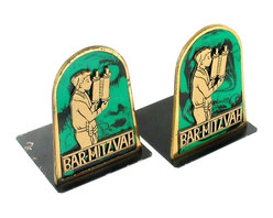 Chen Hebron - Consigned Vintage Judaica Bar Mitzvah Brass Bookends Set Made By Chen Hebron - Offered here is a very nice set of vintage Bar Mitzvah themed brass & metal bookends from Israel. Made by Chen Hebron. These bookends show a young man at his Bar Mitzvah against a green and black marbled background. In very good condition with some chipping and wear to the gold edges and some loss of finish to the rear portion of one bookend on both sides (the bottom also has a bit of light rust on this bookend).