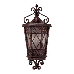 Savoy House - Felicity Pocket Lantern - Inside this outdoor lantern are two light fixtures that glow softly through its gate-like exterior. It's sure to make a pleasant visual addition to your porch, deck or patio area.
