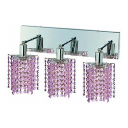 "PWG Lighting / Lighting By Pecaso - Wiatt 3-Light 14.5"" Crystal Vanity Fixture 1091W-O-P-RO-RC - Whether shown individually or as a collection, our Mini Crystal Chandeliers are stunning in any fashion. This stylish collection offers stunning crystal in a range of colorful options to suit every decor."
