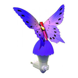 "Other - Kids Butterfly Purple Fiber Optic LED Night Light - Enjoy the elegant beauty of an illuminated butterfly with this charming and compact colorful plug-in LED night light. A white finish base holds the butterfly with purple fiber optic strands built into the wings to create a mesmerizing illumination throughout. Operated with an on/off rocker switch and lit by long-lasting LEDs that never need replacing. Elegant plug-in butterfly novelty night light. Bright purple finish with purple fiber optic base. White plastic plug. On/off rocker switch. Includes a 0.2 watt integrated LED array. 7"" high. 4 1/2"" wide. 3"" deep.   Elegant plug-in butterfly novelty night light.  Bright purple finish with purple fiber optic base.  White plastic plug.  On/off rocker switch.  Includes a 0.2 watt integrated LED array.  7"" high.  4 1/2"" wide.  3"" deep."