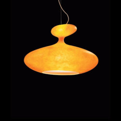 """Kundalini - Kundalini E.T.A. Sat Pendant Light - The E.T.A pendant light from Kundalini is designed by Guglielmo Berchicci. Handmade light diffuser in ecological fiberglass, with polycarbonate reflector, metallic inner structure.  Product Description      The E.T.A pendant light from Kundalini is designed by Guglielmo Berchicci. Handmade light diffuser in ecological fiberglass, with polycarbonate reflector, metallic inner structure. Sinuously shaped and with a contemporary design, E.T.A. Sat suspension by Guglielmo Berchicci has been chosen by one of the biggest and most famous Las Vegas Resort. The Venetian, luxury hotel and entertainment location in the Strip, selected a special E.T.A. Sat to lighten the Palazzo Theatre lounge area.The handcrafted fibreglass diffuser, realized in a very special edition for this particular project, gives to the ambience an atmosphere of strong impact. The Kundalini Contract Department made a special double-sized customized version: a new edition of the lamp, produced following the request of Dallas HKS Architects Studio responsible for the interior design and lighting specification. details:                         Manufacturer:             Kundalini                            Designer:                         Guglielmo Berchicci                                         Made in:            Italy                            Dimensions:                         Height: 21 1/4"""" (54 cm) Width: 31 1/2"""" (80 cm)Diameter: 23 5/8"""" (60 cm)                                         Light bulb:                         1x 60W E12 + 1 x 150W E27                                         Material:             fiberglass , metal"""