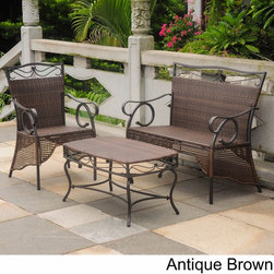 International Caravan - International Caravan Valencia Resin Wicker Settee Group (Set of 3) - Update your outdoor space and create an oasis of your very own with this brown Valencia resin wicker set that includes a table,loveseat and chair. The set is weather and UV resistant and perfect for conversation and lemonade on the porch.