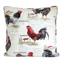 "European rooster throw pillow decorative cushion cover 20' - A European rooster pillow cover. This 20"" x 20"" decorative cushion cover is made from decorator fabric."