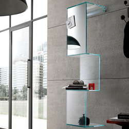 Cling Bookshelf - Cling Bookshelves is a glass shelf that is used vertically. Available in all glass or glass with upper part made of mirror.