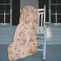 None - Coral Red Quilted Throw - Add a natural, aquatic theme to your living space with this coral red quilted throw. Made from plain-woven 100 percent cotton, this machine-washable throw features a seashell and coral print with embroidered starfish, shells, and seahorses.