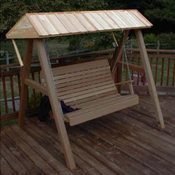 Fifthroom - Red Cedar Wooden Canopy for Porch Swing - This Red Cedar Wooden Porch Swing Canopy is great for real swingers who don't want to be hindered by the weather.  Add it to your Swing Stand, and you can be swingin' in the rain.