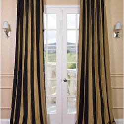 Half Price Drapes - Regency Faux Silk Taffeta Stripe Single Panel Curtain, 50 X 108 - - Defined by a unique sheen and fine weave, our Exclusive Poly Taffeta Curtains & Drapes are gorgeous and timeless. Our Taffeta drapes have a crisp smooth finish in striped patterns. The Poly Taffeta fabric provides you with a quality, cost saving alternative.   - Single Panel   - 3 Rod Pocket   - Corner Weighted Hem   - Pole Pocket with Back Tab & Hook Belt Attached. Can be hung using rings. (Not Included)   - Dry clean   - 100% Polyester   - Lined with a cotton blend material  - 50x108   - Imported   - Multi-Colored Half Price Drapes - PTSCH-11083-108
