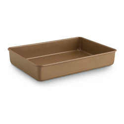 Calphalon - Calphalon Simply Nonstick Bakeware Rectangular Cake Pan - 9 x 13 in. - 1805048 - Shop for Cake Pans from Hayneedle.com! Any baker worth their kosher salt is going to have at least a few 9 x 13 cake pans but with the Calphalon Simply Nonstick Bakeware Rectangular Cake Pan - 9 x 13 in. you'll only ever need one. This versatile pan is crafted from heavy gauge steel that's finished in a toffee-shaded non-stick coating that cleans easily and won't hold on to your cakes or brownies. This pan is also oven-safe up to 450 degrees Fahrenheit/250 degrees Celsius.About CalphalonCalphalon's mission is to be the culinary authority in kitchenwares enhancing the home chef's food experience during planning prep cooking baking and serving. Based in Toledo Ohio Calphalon is a leading manufacturer of professional quality cookware cutlery bakeware and kitchen accessories for the home chef. Calphalon is a Newell-Rubbermaid company.Calphalon's goal is to give you the home chef all the tools you need to realize your highest potential in the kitchen. From your holiday roasting pan to your everyday fry pan count on Calphalon to be your culinary partner - day in and day out for breakfast lunch and dinner for a lifetime.