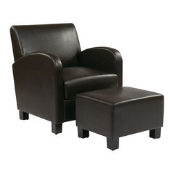 Office Star - Office Star Metro Faux Leather Club Chair with Ottoman in Espresso - Office Star - Club Chairs with Ottomans - MET807ES - OSP Designs Espresso Faux Leather Club Chair with Ottoman. Make your office a little bit more homey by completing it with the your own office star club chair. Able to match a lot of settings with it's simplicity.