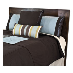 """Sands - Chooty - Tristen's Brown Corded Standard Cut King Duvet, 2 Aqua Marine/Tinga/Duck Shams, - Transform your room with a touch of Cape Cod color.  This Duvet Set is a complete ensemble with a soft, comfortable, corded chocolate brown duvet, accented with 2 aqua blue shams with tinga, a brown Euro mitered sham with tinga and completed with a bed runner accented with vertical stripes of brown aqua, avocado and ivory.  This set will add tranquility and comfort to your bedroom. (King Size - 100""""W x 94""""L)"""