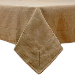 Home Decorators Collection - Custom Tablecloth - Instantly refresh the look of your kitchen or dining room with our Custom Tablecloth. This mitered tablecloth offers a smooth drop with elegant pleats at the corners of your table. Choose your favorite fabric, then mix and match with our other custom fabric items. Includes mitered corners. Made in the USA. Hand or spot clean.